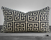 Pillow Cover - Navy Blue Greek Key Pillow Cover, Throw Pillow, PICK YOUR SIZE - 12x16, 12x18, 12x20
