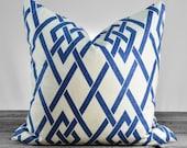 Pillow Cover - Braemore Secret Gate Sapphire Fabric  - Dark Blue Trellis on Cream - SAME FABRIC both sides - Pick Your Pillow Size