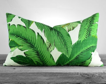 Pillow Cover - Tommy Bahama Swaying Palms Aloe - Shades of Green Palm Leaves on Ivory - SAME FABRIC Both Sides - Pick Your Size