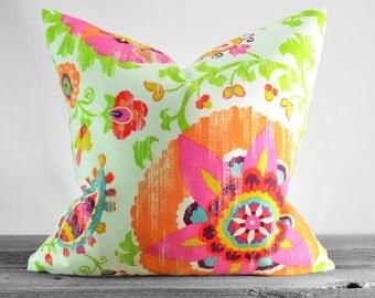 Pillow Cover - P Kaufmann Silsila Lawn (Orange) Fabric - Orange, Tangerine, Turquoise, Purple - Same Fabric Both Sides - Pick Your Size