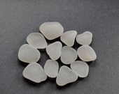 Scottish Sea / Beach Glass - 12 White and Very Smooth Disc Shaped Sea Glass Pieces