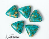 Triangle shaped blue mosaic stone turquoise beads, 19mm, 5 pieces