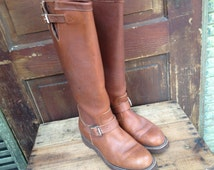 Vintage Sienna Brown Leather Riding Biker Hunting Snake Boots ~ Chippewa ~ Neoprene ~ Mens 7 US