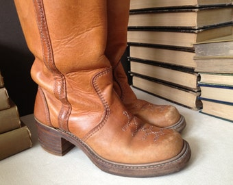 1970s Leather Riding Boots Knee High Campus Boots Size 7  7,5 US