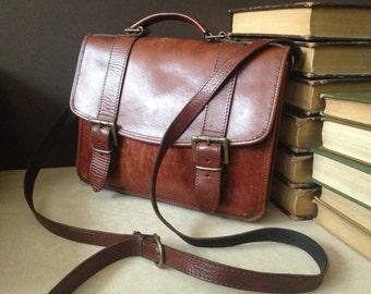 Vintage Chestnut Brown Leather // Messenger Handbag // Mini Briefcase Style