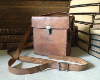 Brown Leather Tool Bag Made in England, Phone Repairman, Box Purse, GPO Meter Case