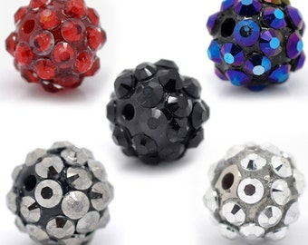 """10  or 50 Acrylic Rhinestone Beads 12mm - Mixed Colors - 12mm (1/2"""")  (16508)"""