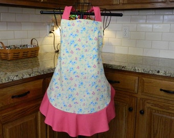 Ladies Apron / Full Size Woman's Apron / Yellow and Pink Spring Apron / Retro Style Apron / Shabby Chic Apron
