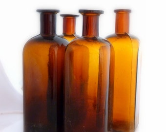 Amber Antique Apothecary Bottles- Set of 4