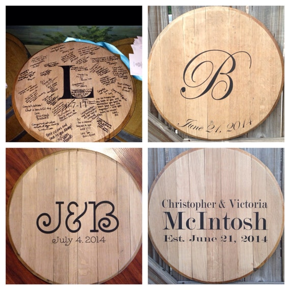 bourbon whiskey barrel head wedding guest book by kybarrel on etsy. Black Bedroom Furniture Sets. Home Design Ideas