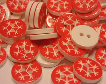 10 red snowflake buttons, 13 mm (42)