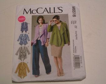 McCalls Pattern M6516 Miss Unlined Vest Jackets