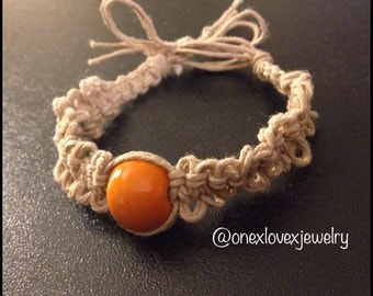 Orange Fishbone Hemp Bracelet B237