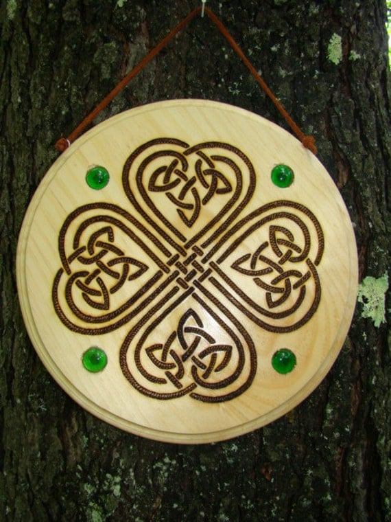Wood burned celtic knot home decor for Celtic decorations home