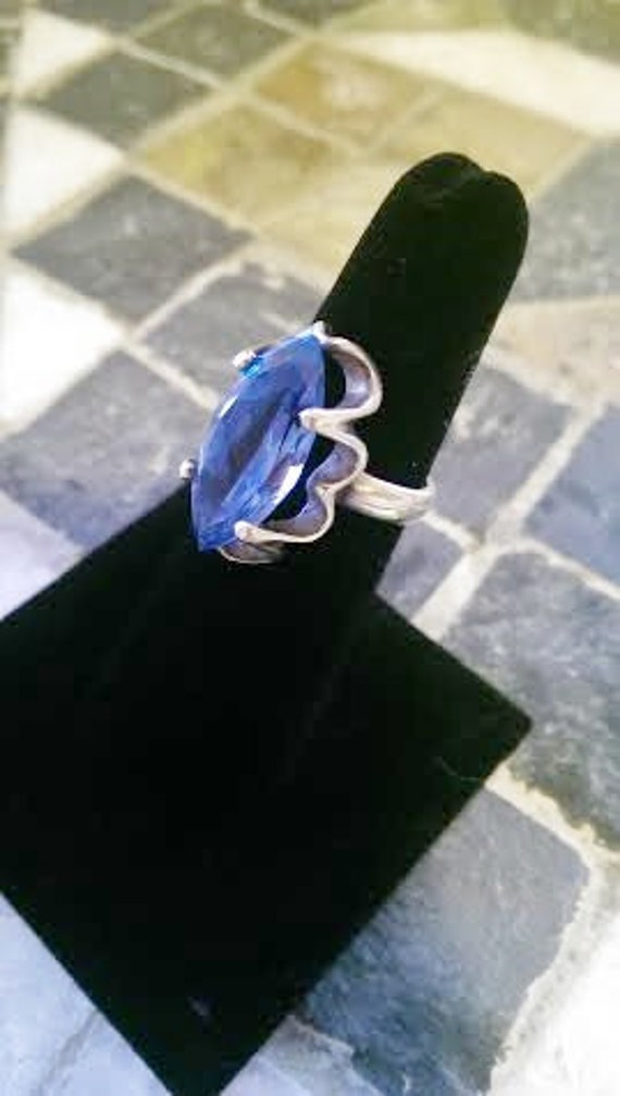 RESERVED FOR Elizabeth Vintage Sterling Silver and HUGE Blue Topaz Ring Mexico