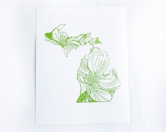 Letterpress Michigan Apple Blossom