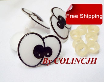 10Pairs Toy Eyes Cartoon Safety Eyes Animal Craft Eyes Plastic Eyes With Plastic Washers