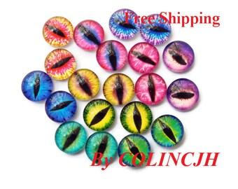 20pcs  12mm Colored  Glass Eyes Flat Back  Animal Craft Eyes Handmade Glass Cabochon