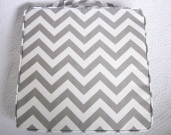Outdoor Grey Chevron Chair Pad 40 x 40 x 5cm
