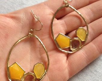 Vintage Costume Goldtone with Yellow Plastic Inset Dangle Earrings