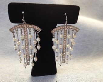 Vintage Costume Silvertone Earrings with Faux Pearls and Rhinestones