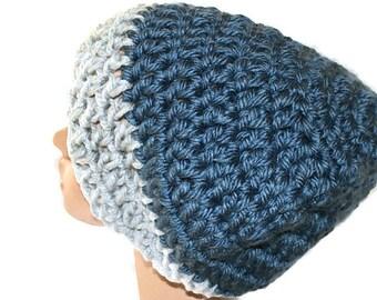 Chunky Slouch Hat, Blue Gray Hat, Slouchy Cap, Chunky Knit Hat, Blue Womens Hat, Mens Blue Hat, Winter Hat, Blue Cap, Warm Winter Hat