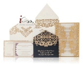 Custom Luxury Invitations- Cutom DieCut  and Lasercut Invitations - Metallic Invitations - InviteCouture - SAMPLE AVAILABLE NOW