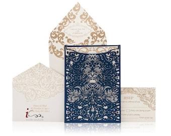 Custom Lasercut Luxury Bali Destination Wedding invitation Suite-Metallic Foil Luxury Wedding Invitations-Die Cut Invitaitons-InviteCouture