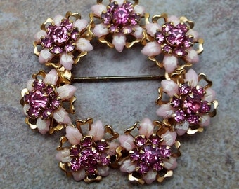 Pretty Pink Floral Rhinestone Circle Brooch