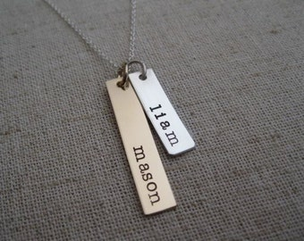 Personalized Name Necklace - Two Hand Stamped Rectangle Name Bars in Mixed Metals - Mother's Necklace