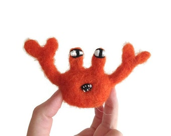 Folk Art Crab Sculpture, Needle Felted Crab Soft Figurine