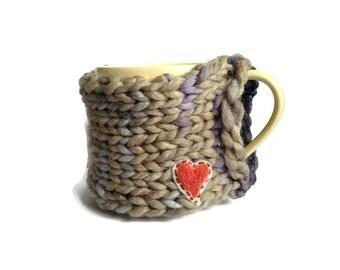 Handmade Coffee Mug Hug, Autumn Winter Knitted Cup Cosy