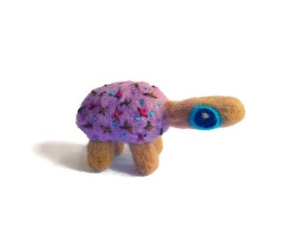 Miniature Tortoise Sculpture, Needle Felted Tortoise Soft Art Doll