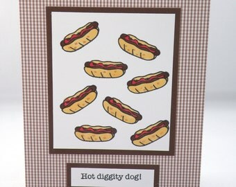Blank Note Card with Hot Dogs in Brown