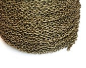 15ft Antique brass Chain -Finished brass Chain- Cable Chain 3x2mm soldered