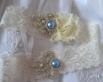 Wedding Garter, Bridal Garter, Ivory Lace Garter, Shabby Chiffon Garter Set,Something Blue Garter