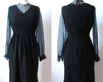 1940's Little black dress, long transparent sleeves