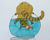 Cat looking into goldfish bowl original humorous drawing. Archival fade resistant ink on bright white archival paper.