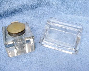 Glass Inkwell and Quill Rest
