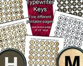 Typewriter Keys Printable Digital Collage Sheets  - 1 Inch Circles x 48  - 5 Vintage styles, ideal for bottle cap jewelry, scrapbooking, etc