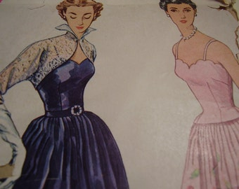 Vintage 1950's Simplicity 8392 Dress and Bolero Sewing Pattern, Size 14, Bust 32