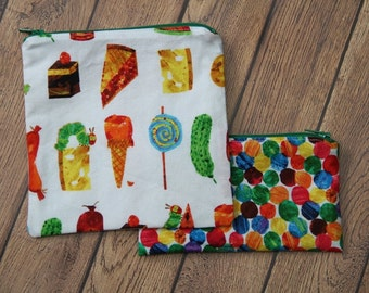 Hungry Caterpillar Reusable Sandwich  or Snack Bags with Zipper Closure