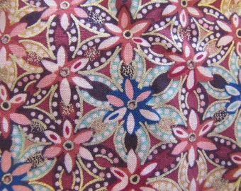 Maroon Asian Style Fabric, Floral Fabric, Cotton Fabric, Floral Fabric, Asian Style Fabric, Burgundy, Gold, Asian, Peter Pan Fabric