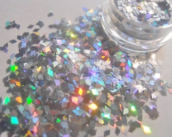 "Holo Silver Diamonds Glitter 1 Ounce Rhombus Glitter 1/8"" for Nail Art and Nail Polish Frankening Supply"