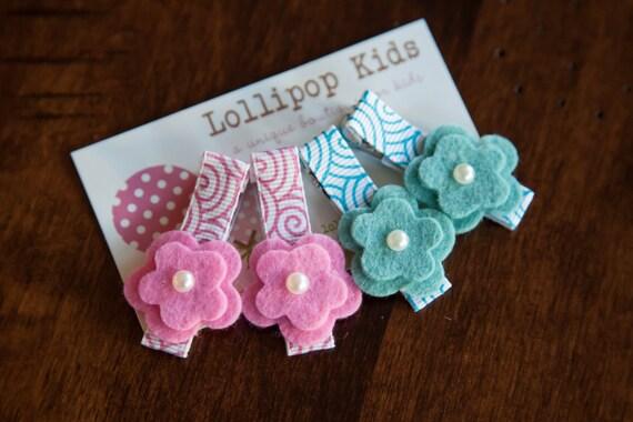 Toddler Hair Clip Baby Hair Clip Infant Hair Clip Kids Hair Clip Pink Blue Green Wool Felt Flower Hair Clip
