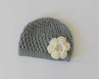 Baby Girl Crochet Flower Hat, Toddler Girl Hat, Gray Hat with Cream Flower