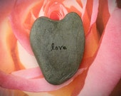 Large Heart rock , hand stamped love stone