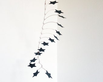 Hanging mobile, Gray star mobile, Nursery decor, Kinetic decor, 15 stars paper mobile