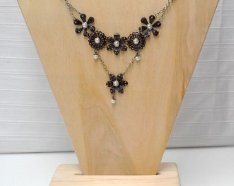 Black Pearl Floral Tiered Necklace