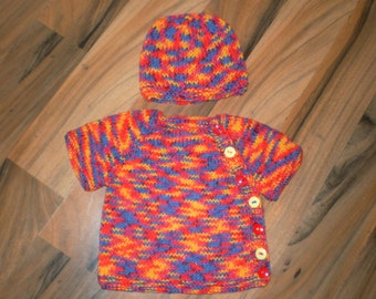 cute and colourful handknitted baby cardigan and hat set blue, red, yellow, orange newborn